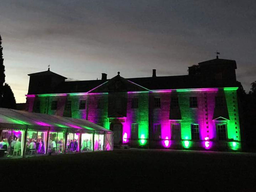 Lydiard Park Uplighted with Marquee in grounds